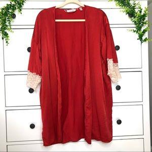 Victoria's Secret 100% Silk Red Lace Trim Robe Kimono Lingerie Cover Up Xs Small